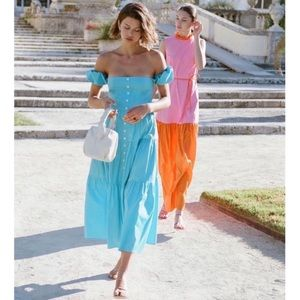 NEW STAUD Elio Button Front Tiered Maxi Dress